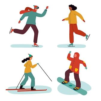 Raccolta di persone che svolgono divertenti attività invernali