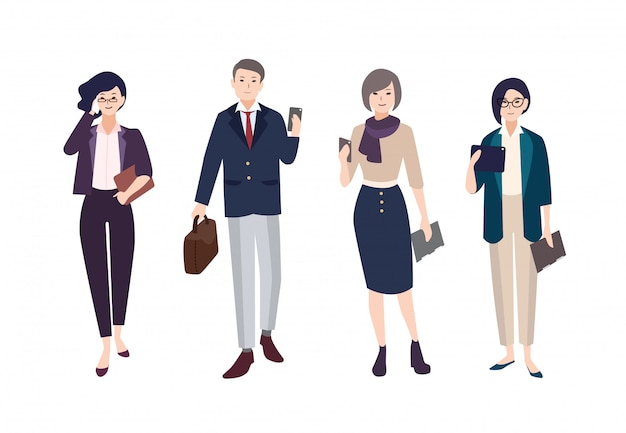 Collection of people dressed in smart clothing. bundle of men and women wearing business clothes with gadgets.