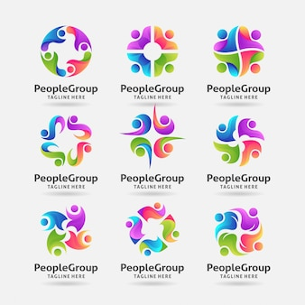Collection of people group logo design