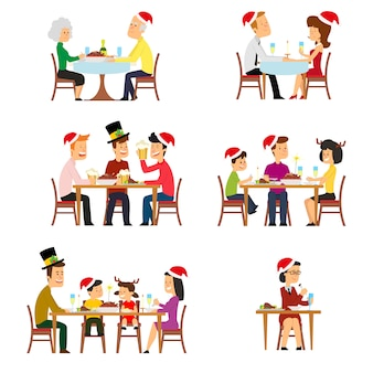 Collection of people for the holiday with christmas dinner.
