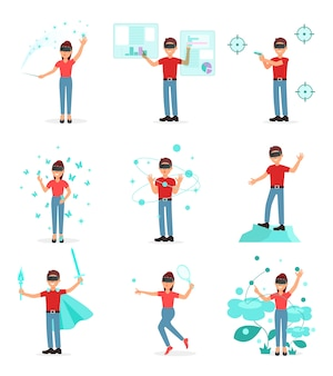 Collection of people playing video game in virtual reality with vr headset, person using virtuallization technology illustration on a white background