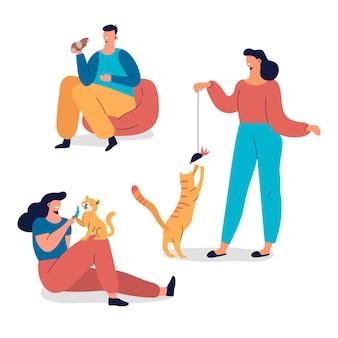 Raccolta di persone che giocano con i loro animali domestici