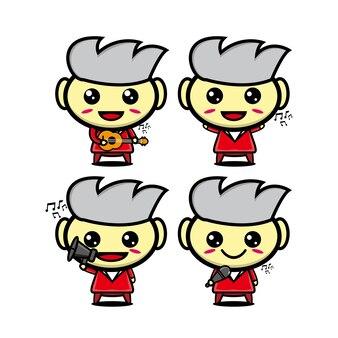 楽器を保持しているコレクションの人々のセットベクトルイラストフラットスタイルの漫画のキャラクター
