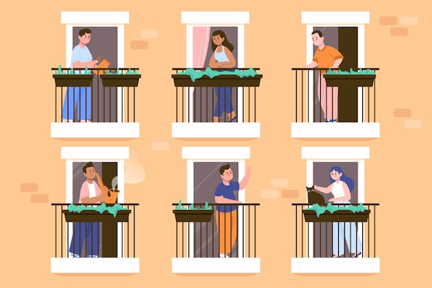 Collection of people staying on their balconies