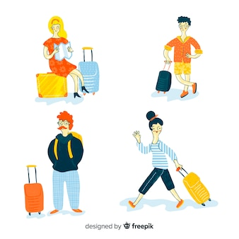 Collection of people traveling hand drawn design