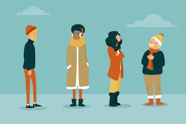 Raccolta di persone che indossano abiti accoglienti in inverno
