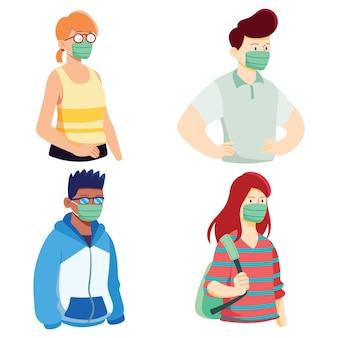Raccolta di persone che indossano la maschera medica