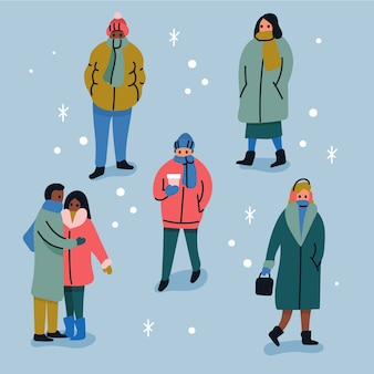 Collection of people wearing winter clothes
