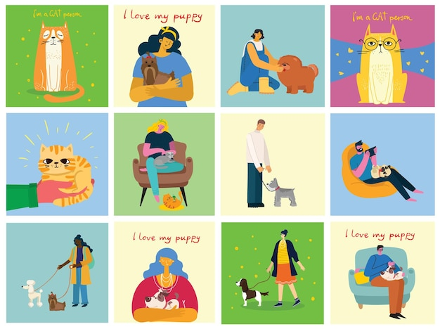 Collection of people with pets. set of men and women holding their domestic animals. bundle of male and female flat cartoon characters. colorful vector illustration.