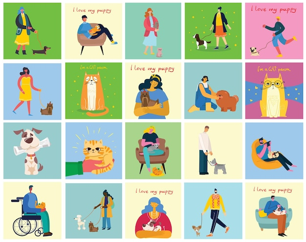 Collection of people with pets. set of men and women holding their domestic animals. bundle of male and female flat cartoon.
