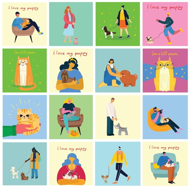 Collection of people with pets. set of men and women holding their domestic animals.