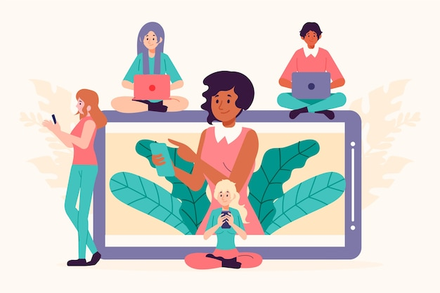 Collection of people with technology devices