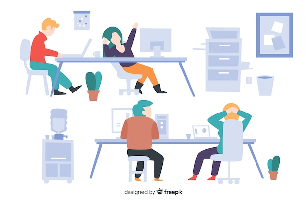 Collection of people working at their desks illustrated