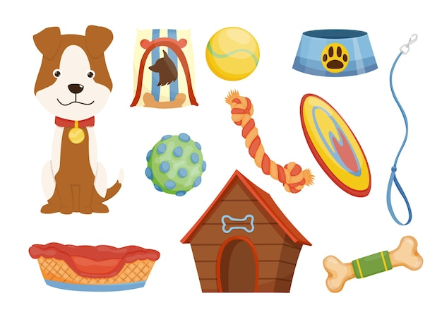 Collection of pet shop icons. dog leash. pet care supply accessories and decorative products.