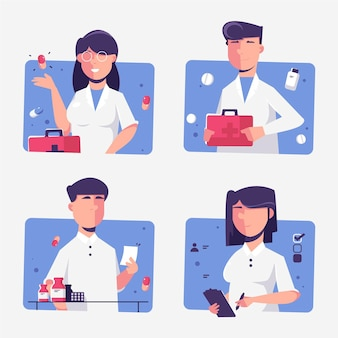 Collection of pharmacist illustrations