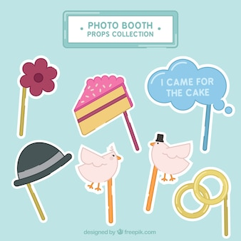 Collection of photo booth props for weddings