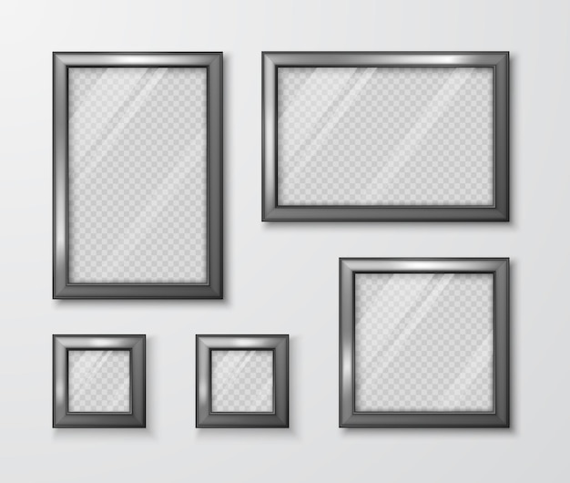 Collection of photo frames on the gray wall