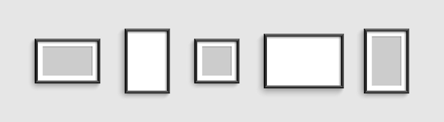 Collection photo frames or picture different shapes