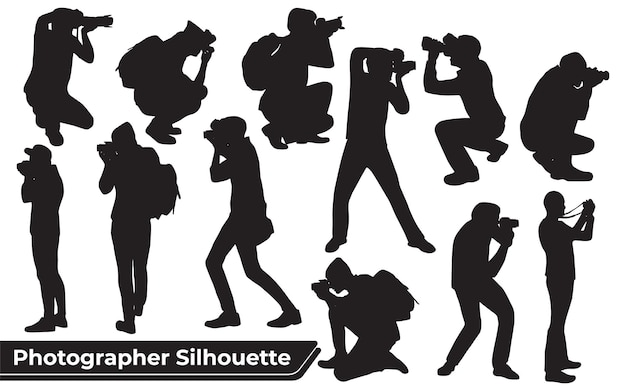 Collection of photographer silhouettes in different poses