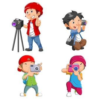 The collection of the photographer with different pose of illustration