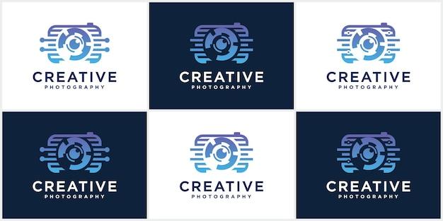 Collection of photography technology cameras logo icon vector templates photography logo design