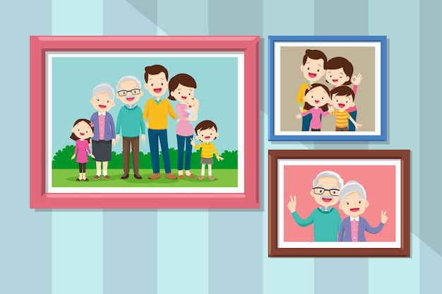 Collection of photos of family members in frames. bundle of framed wall pictures or photographs with smiling people. grandmother and grandfather in photo frame together.