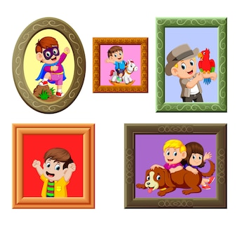 Collection of the photos frame with the different picture
