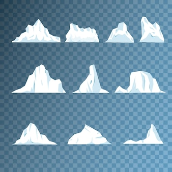 Collection of pieces and crystals, iceberg for game design and decor, cold frozen block, icy cliff. ice mountain, large piece of freshwater blue ice in open water. vector illustration, eps 10.
