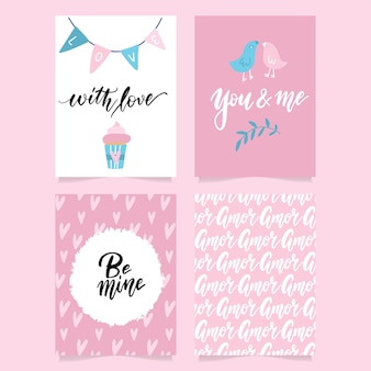 Collection of pink, black, white colored valentine's day card and flyer templates with hand lettering and illustrations.