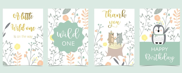 Collection of pink boho cards set with bear,penguin.vector illustration for birthday invitation,postcard and sticker.editable element