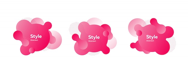 Collection of pink gradient flowing figures
