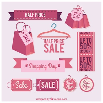 Collection of pink sale labels Free Vector