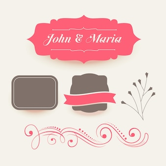 Collection of pink wedding decoration elements