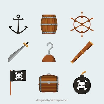 Collection of pirate elements in flat design