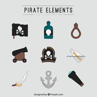 Raccolta di elementi pirata in design piatto