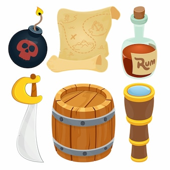 Collection of pirate items.