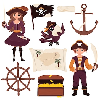 Collection of pirates, pirate, parrot, treasure map, treasure chest, flag with skull, steering wheel, anchor. isolated white background. children's vector illustration flat cartoon style.