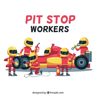 Collection of pit stop workers