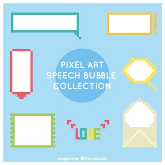 Collection of  pixelated colored dialog balloons
