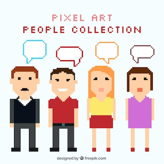 Collection of pixelated people with speech bubbles
