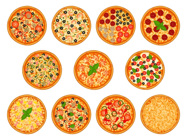 Collection of pizza with various ingredients.