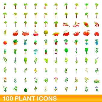 Collection of plant icons isolated on white