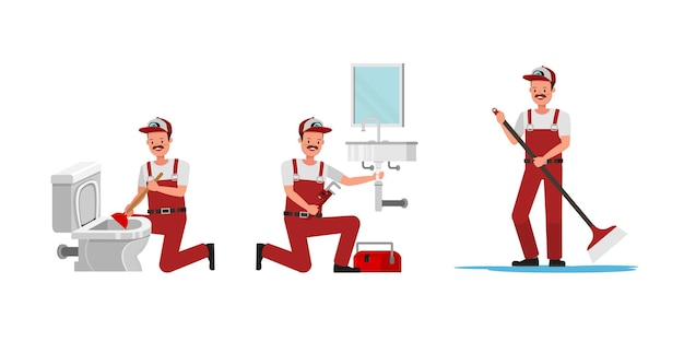 Collection of plumber man working