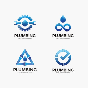 Collection of plumbing, water logo design template.