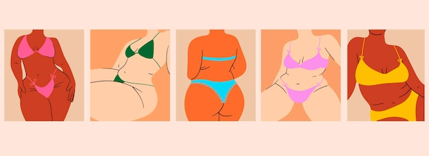 A collection of plump womens plus size women in nude swimwear vector illustration