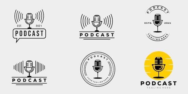컬렉션 팟캐스트 회사 빈티지 배지 로고 템플릿 벡터 일러스트 디자인. 간단한 힙스터 마이크, 라디오, 음악, 온에어 로고 개념