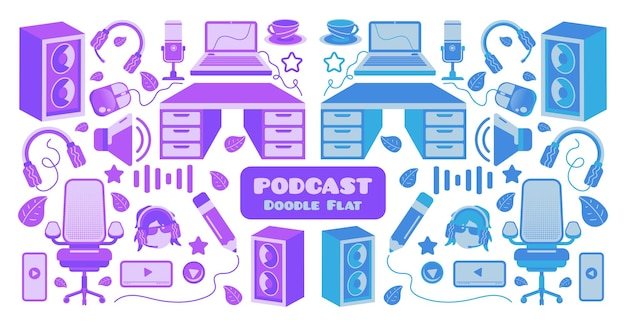 Collection of podcast monochromatic and color doodles set