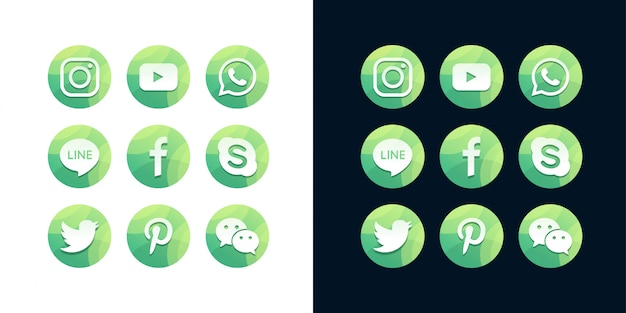 A collection of popular social media icons on white and dark background