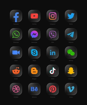 Collection of popular social media network modern  rounded black glass web icons