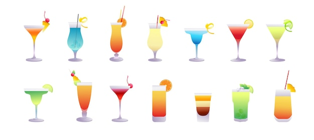 Collection of popular summer cocktails
